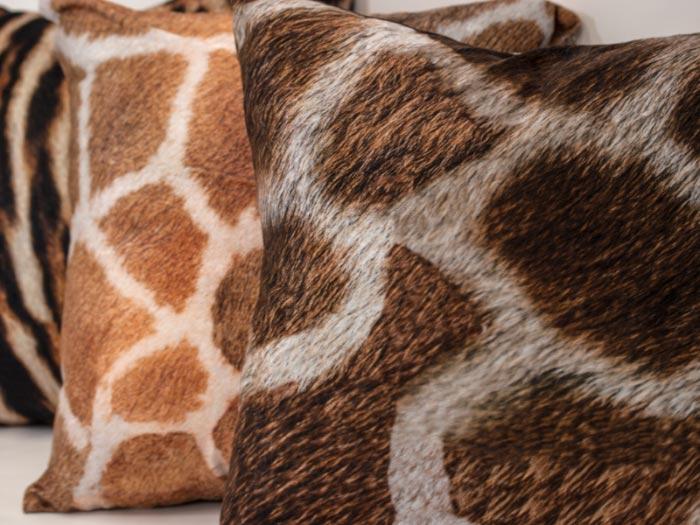 Giraffe Print On Velour Pillow